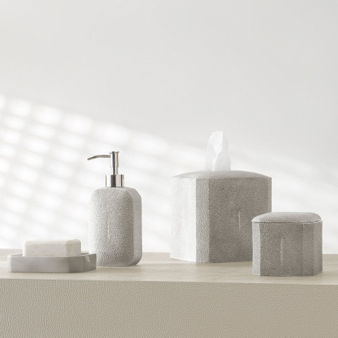 kassatex shagreen grey resin bath accessories | gracious style