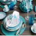 Corail (Coral) White/Turquoise Embroidered Table Linens | Gracious Style