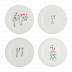 Les Amoureux / The Lovers Dessert Plates Assorted 8 2/3 In Dia, Set Of 4 | Gracious Style