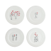 Les Amoureux / The Lovers Canape Plates Assorted 6 1/2 In Dia, Set Of 4 | Gracious Style